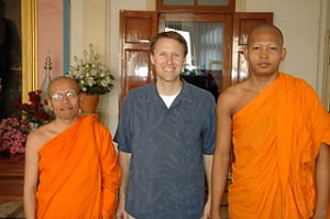 Buddhist monks in Bangkok with Tim