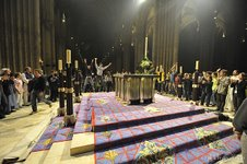 Youth celebrating Christ's resurrection in Chartres Cathedral