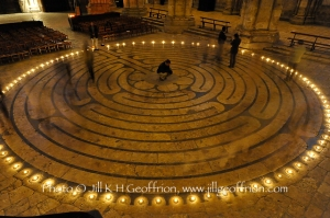 Tim in center of Chartres Cathedral labyrinth