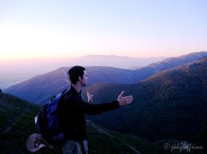 Sunrise on pilgrimage and my son, Tim