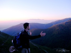 Sunrise on pilgrimage and my son, Tim