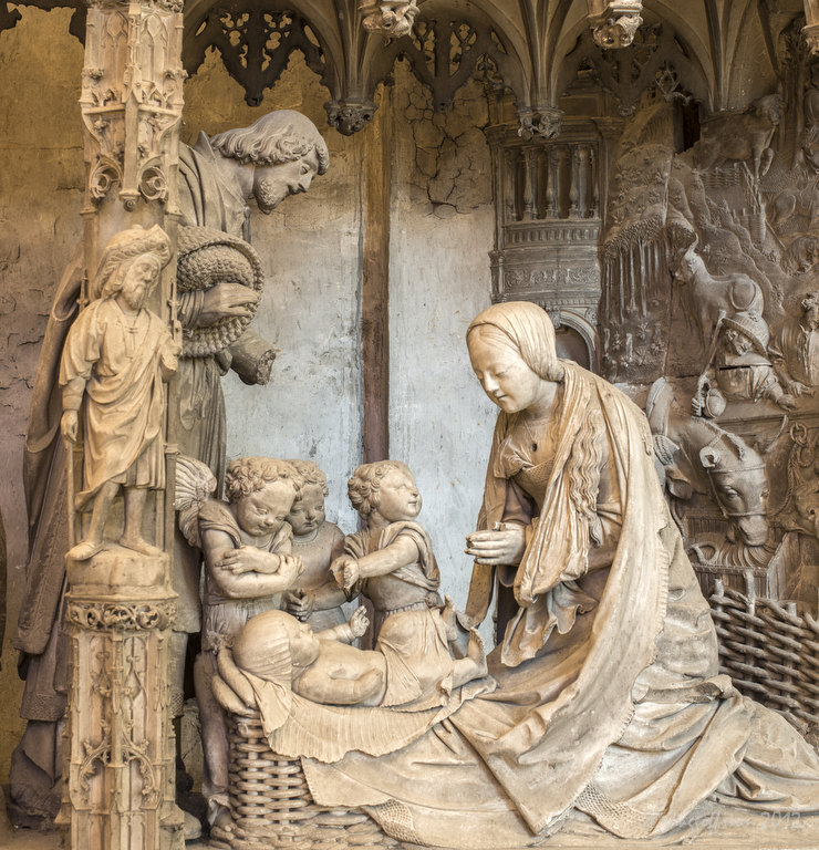 Nativity sculpture in the Chartres Cathedral, France